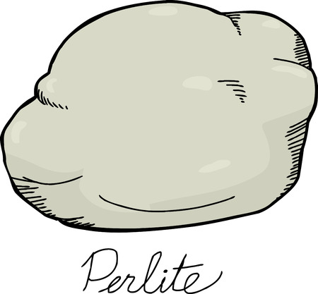 Single perlite rock illustration over white background