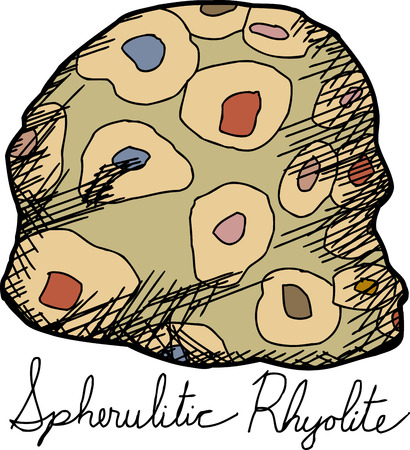 Isolated spherulitic rhyolite rock cartoon over white background