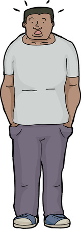 confusing: Cartoon of surprised muscular Black man with hands in pockets