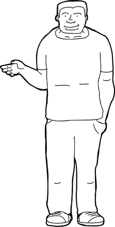 easygoing: Outline cartoon of strong young person holding nothing Illustration