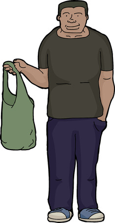 easygoing: Grinning young man holding cloth shopping bag Illustration