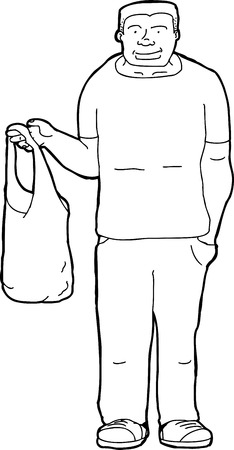 Outline cartoon of smiling man with shopping bag