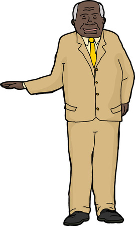 Smiling Indian businessman holding right hand out Vector