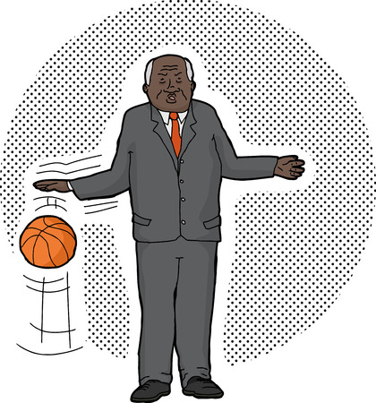 Cartoon of serious senior businessman dribbling basketball Ilustração