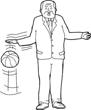 Cartoon outline of tough businessman bouncing basketball Ilustração
