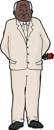 Isolated cranky businessman holding rose behind his back Vector