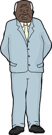 hands behind back: Scared balding businessman with hands behind his back over white Illustration