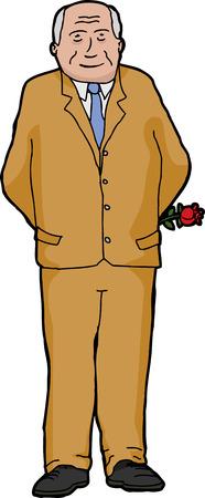 grinning: Grinning businessman over white holding a single rose Illustration
