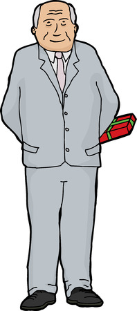 gift behind back: Single hand drawn businessman holding gift behind him