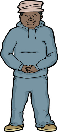 folded hands: Confident young Black male in sweatsuit over white