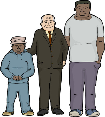 foster: Happy Caucasian father with adopted Black sons Illustration