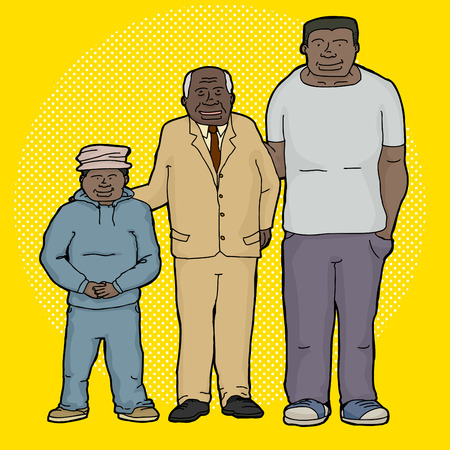 Three generations of family cartoon over yellow background Ilustração