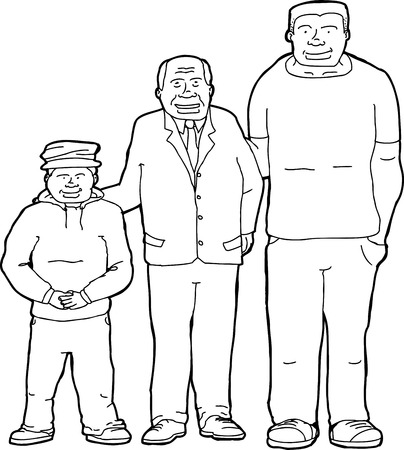Outline cartoon of father with son and grandson Ilustração