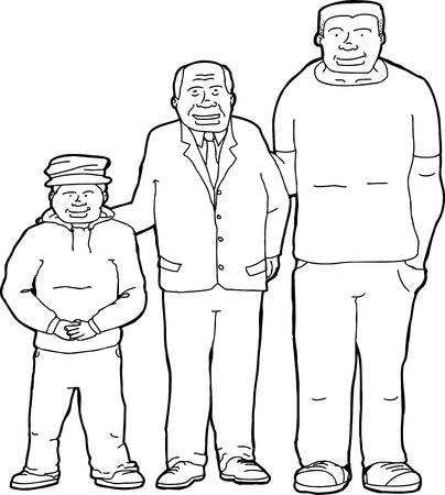 Skizzieren Karikatur Vater mit Sohn und Enkel Standard-Bild - 35374070