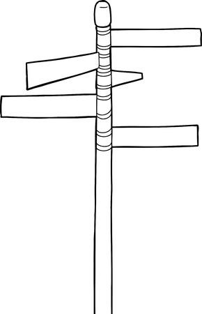 Cartoon outline of blank street signs on pole