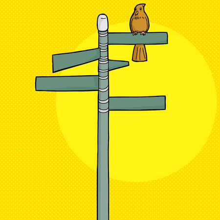 streetsign: Brown bird perched on blank street signs