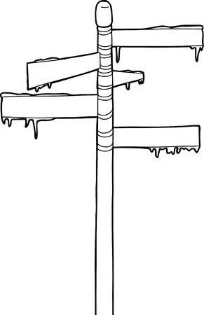 streetsign: Outline drawing of street sign covered with snow and ice Illustration