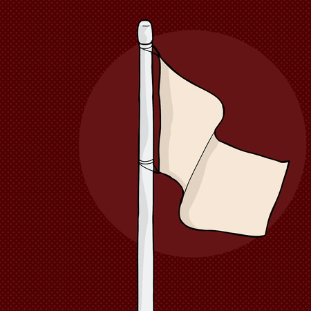 flagpole: Hand drawn blank cartoon flag over brown background