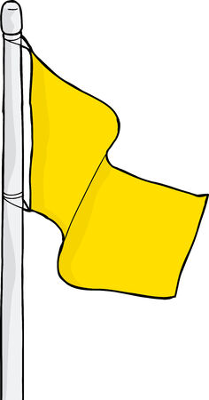 flagpole: Isolated blank cartoon flag on pole over white
