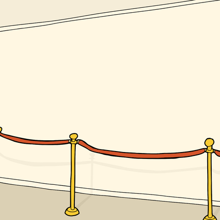 rope barrier: Blank interior wall with gold and velvet stanchion