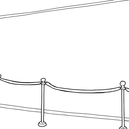roped off: Outline cartoon of stanchion and blank wall