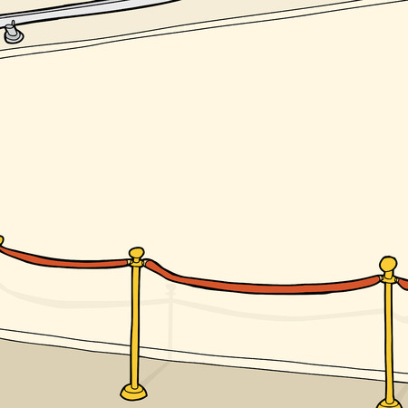 Track lighting and stanchion at blank wall