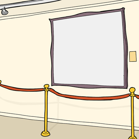 roped off: Large blank picture frame and stanchion in room
