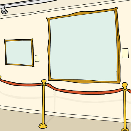 Cartoon art gallery with two blank picture frames