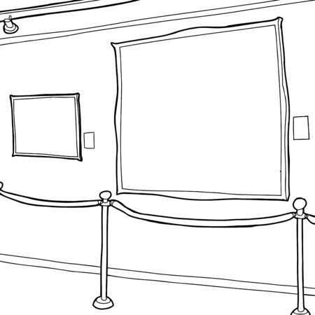Outline of picture frames and stanchion in art gallery
