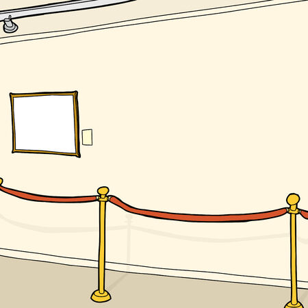 Small empty picture frame on wall with stanchion