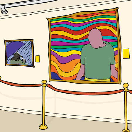 Hand drawn contemporary art museum gallery with stanchion Illustration