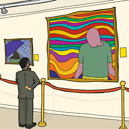 roped off: Black man in suit looking at art in museum Illustration