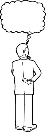 man looking out: Outline cartoon of businessman standing and thinking