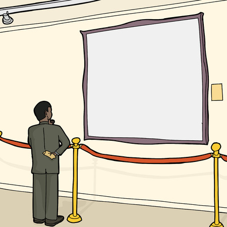 Interested person viewing blank picture frame in gallery Illustration