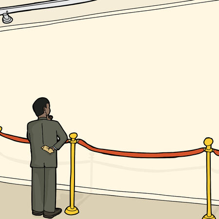 Businessman standing alone looking at wall behind stanchion Illustration