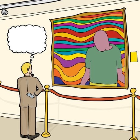 roped off: Thinking Caucasian businessman looking at artwork in museum