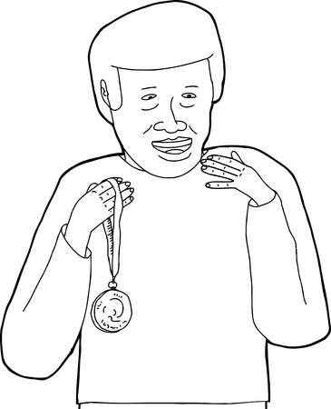 Outline of happy African male holding medal