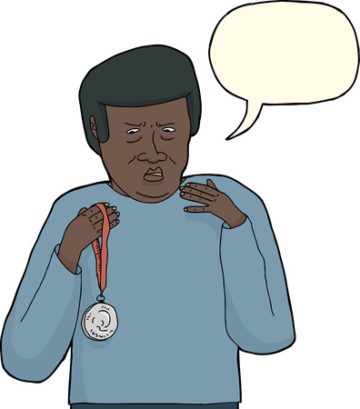 Dissatisfied African man holding silver medal over white