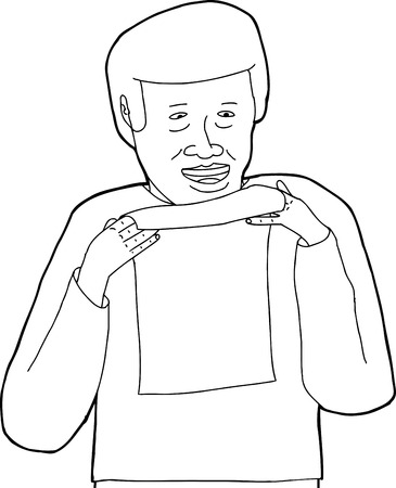 Outline of cheerful Black man holding sheet of paper