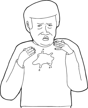 irked: Cartoon outline of mess on shirt of man