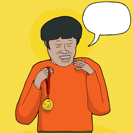 word bubble: Happy man with gold medal and word bubble