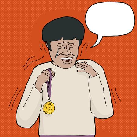 primer lugar: El ganador del primer lugar temblando y llorando mientras sostiene la medalla de oro Vectores
