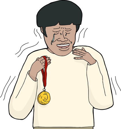 achievement clip art: Overwhelmed and sobbing Asian man holding gold medal