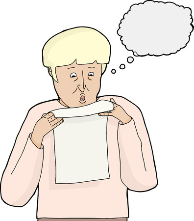 man reading: Cartoon of scared man reading letter over white background