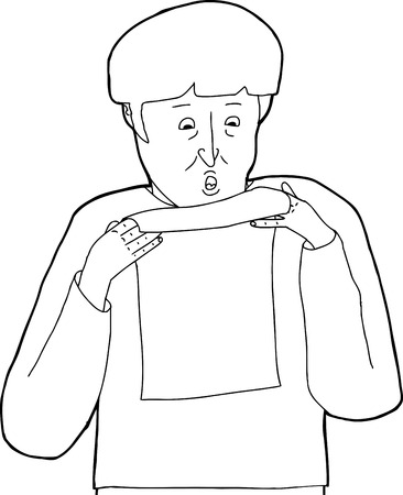 man reading: Cartoon outline of scared man reading a letter