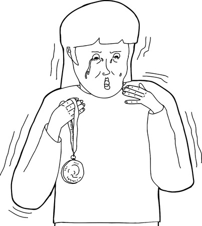 Outline of woman with medal as a sore loser Illustration