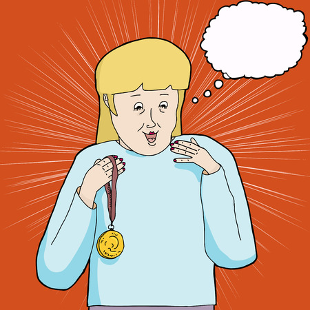 achievement clip art: Excited blond woman celebrating with gold medal