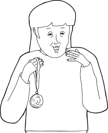 Cartoon of outline of excited female holding a medal 向量圖像