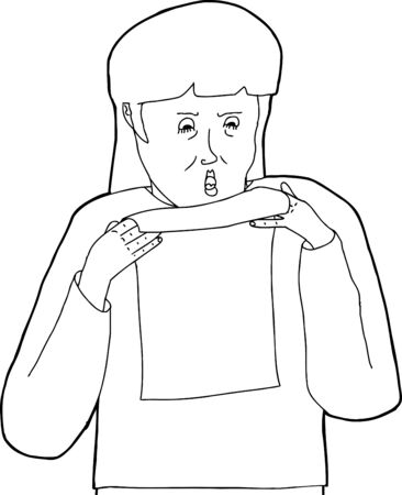 insulted: Outline of angry female holding blank letter Illustration