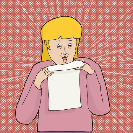 Happy blond woman in pink holding a blank letter 向量圖像